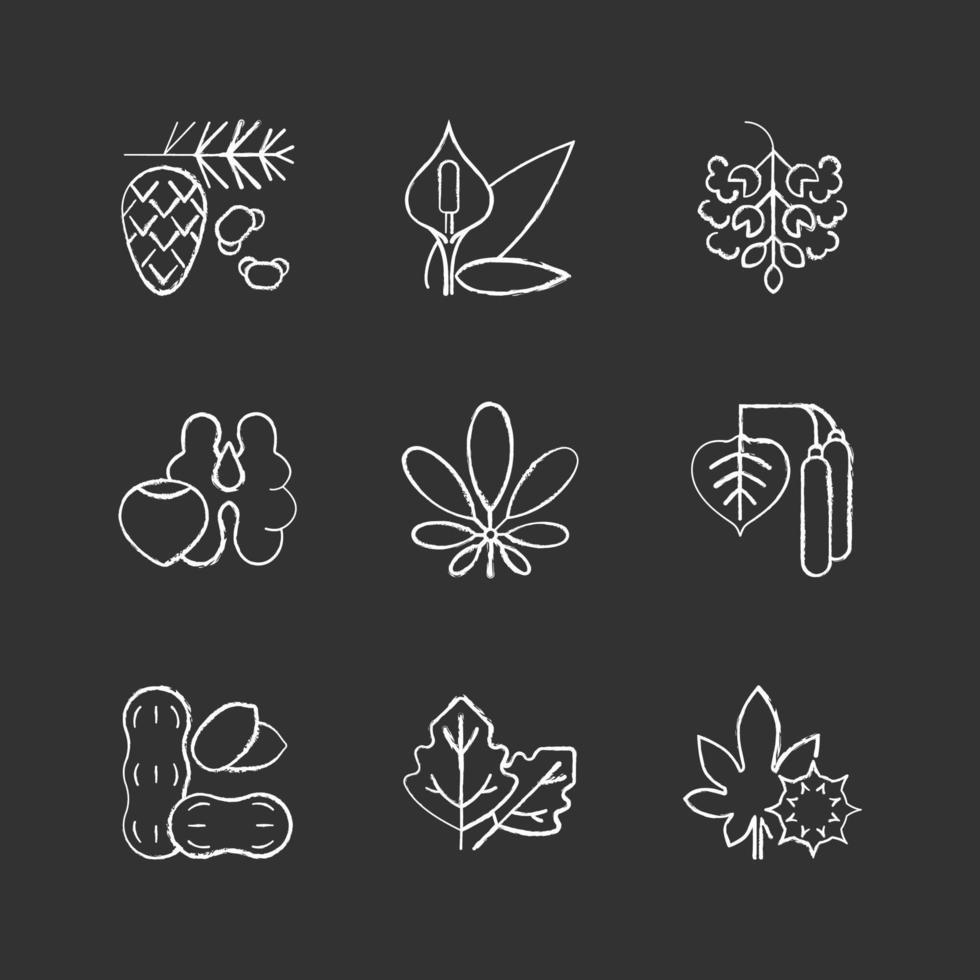 allergeni e allergie provoca icone di gesso bianco impostato su sfondo nero vettore