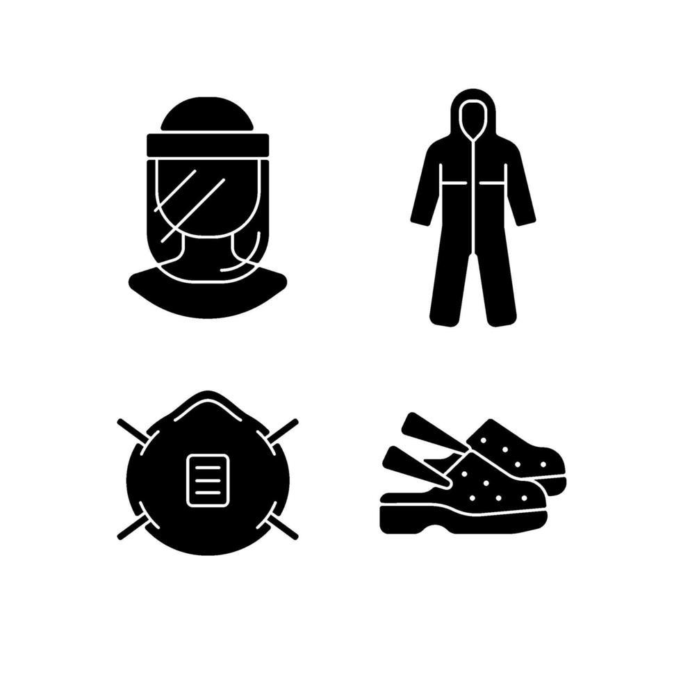 Icone nere del glifo dell'attrezzatura medica messe su uno spazio bianco vettore