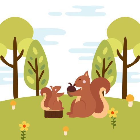 Illustrazione animale di vettore della mamma e del bambino