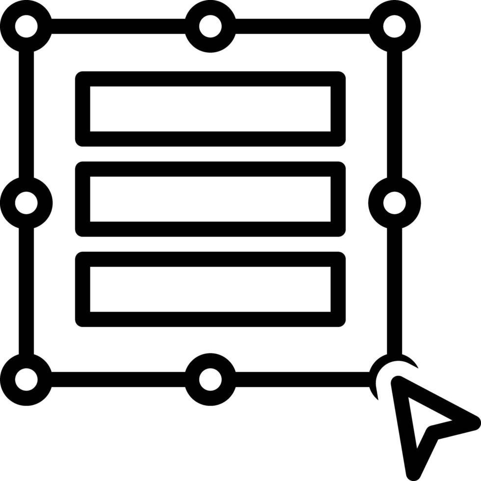 icona della linea per la colonna delle dimensioni automatiche vettore