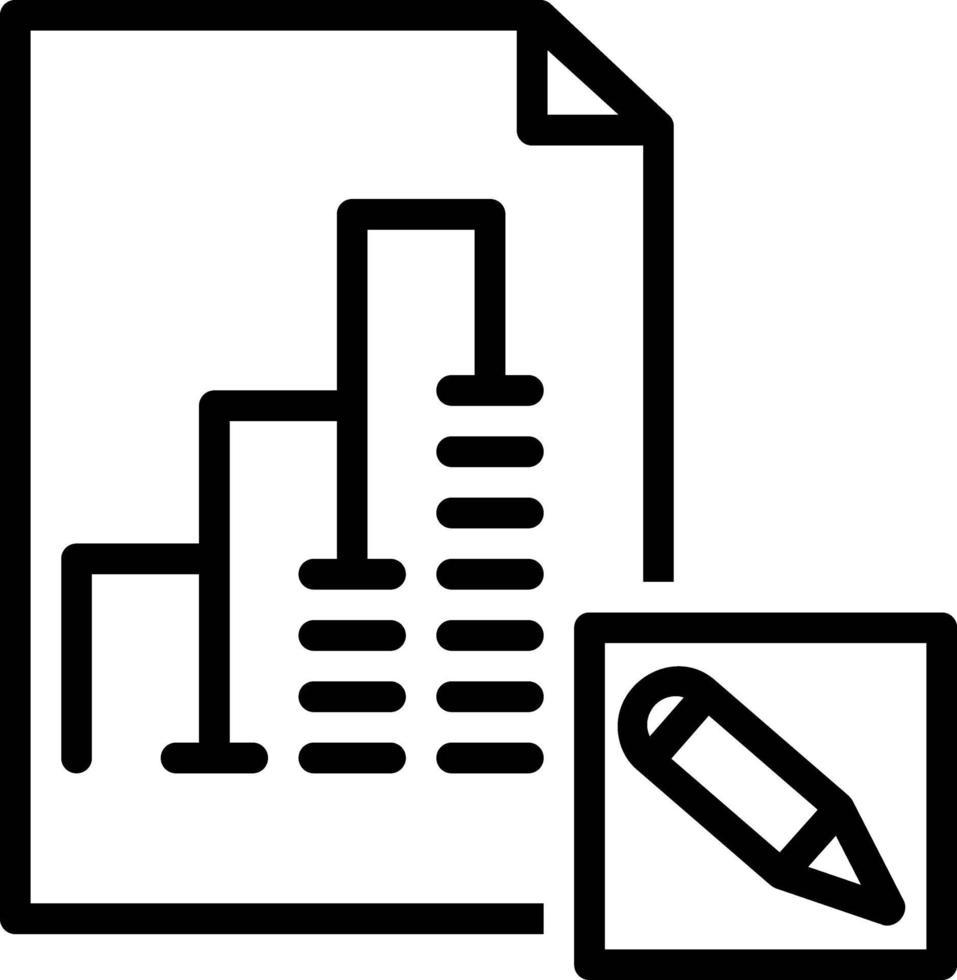 icona della linea per l'editor di report vettore