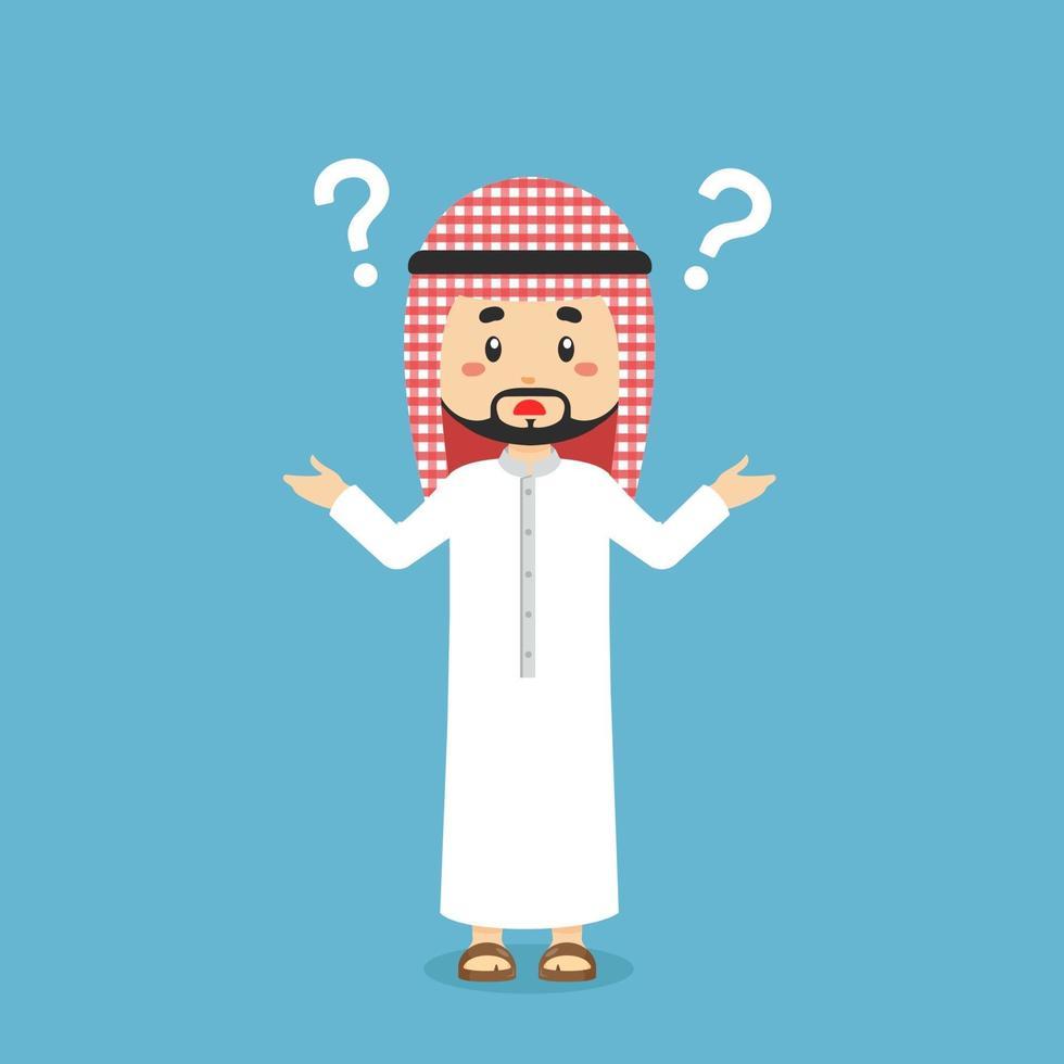 musulmano confuso con il punto interrogativo vettore