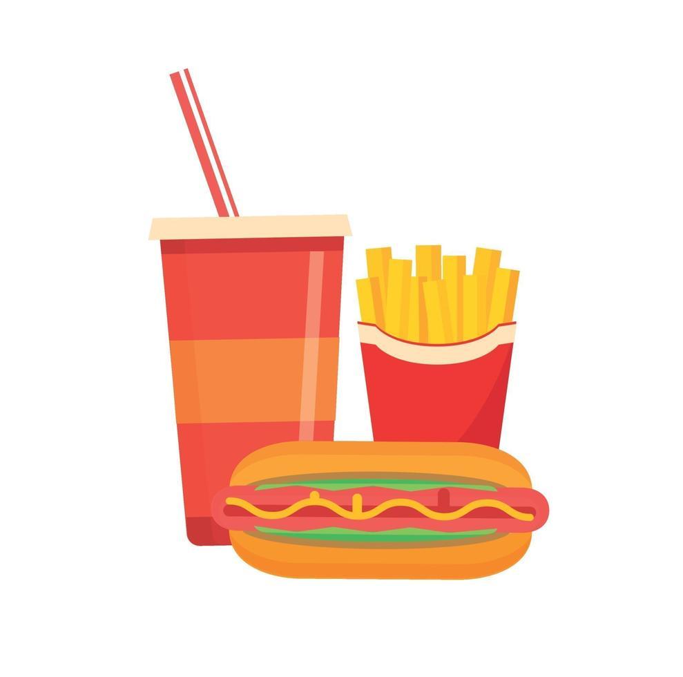 vettore cibo spazzatura patatine fritte e succhi di frutta con elementi hot dog