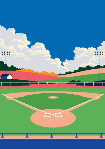 Paesaggio del parco di baseball vettore