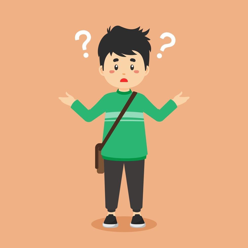 studente universitario confuso con il punto interrogativo vettore