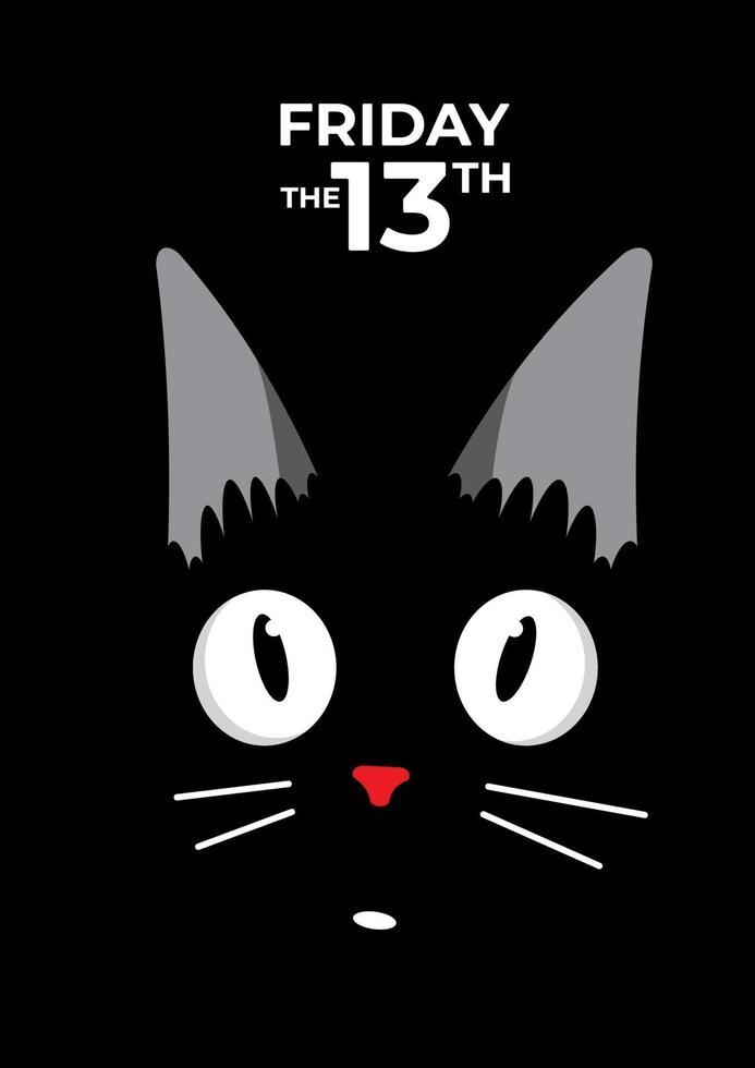 gatto nero e venerdì 13 vettore