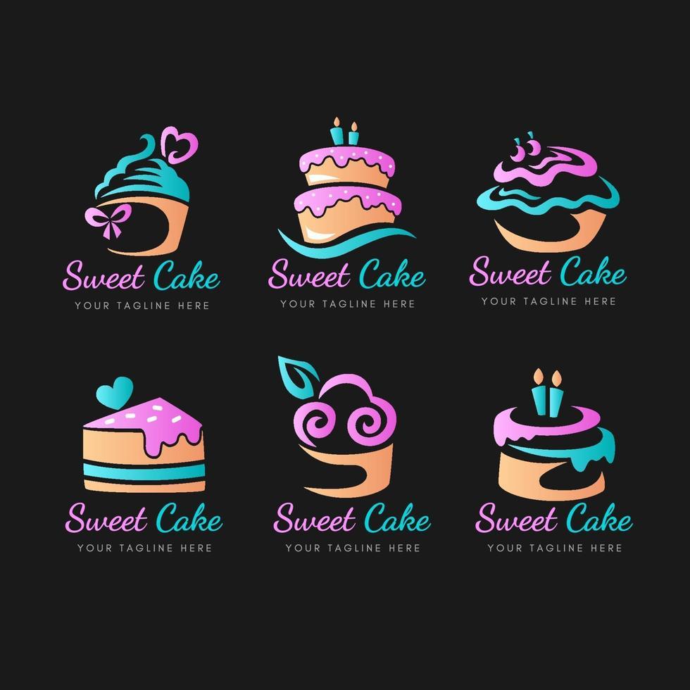 collezione di logo di torta in gradiente vettore
