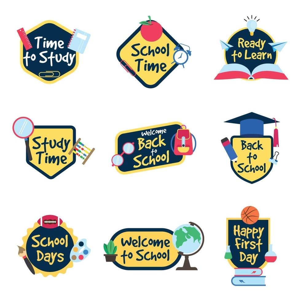 collezione di distintivi di attività scolastiche di design piatto vettore