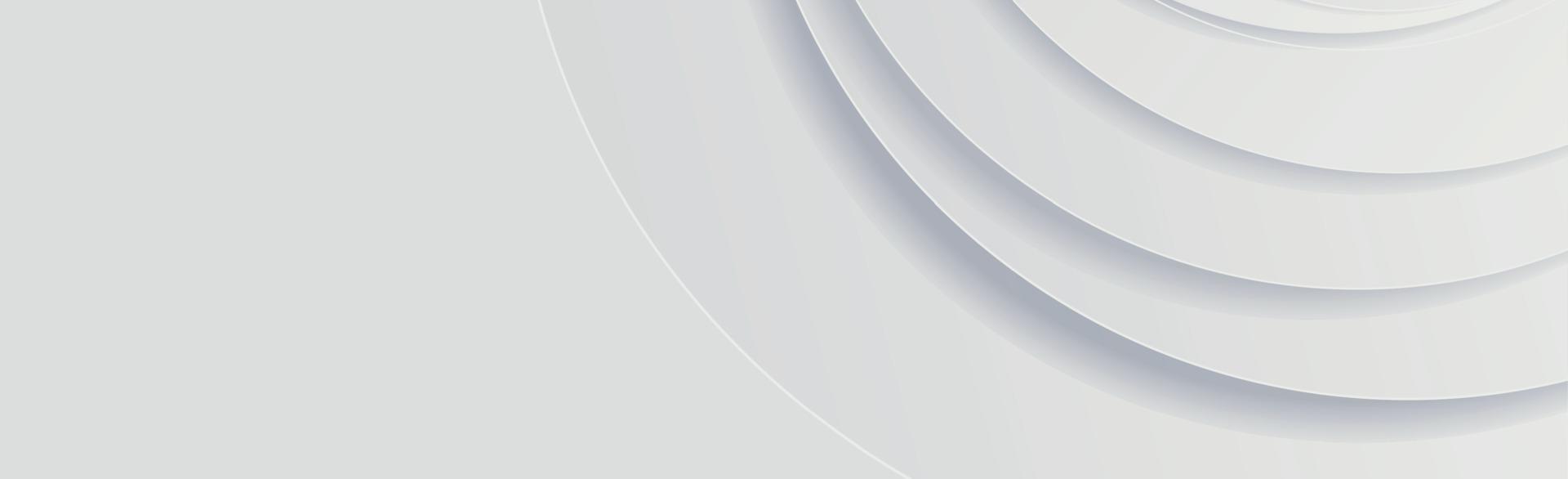 sfondo panoramico vettoriale bianco con cerchi e linee d'ombra