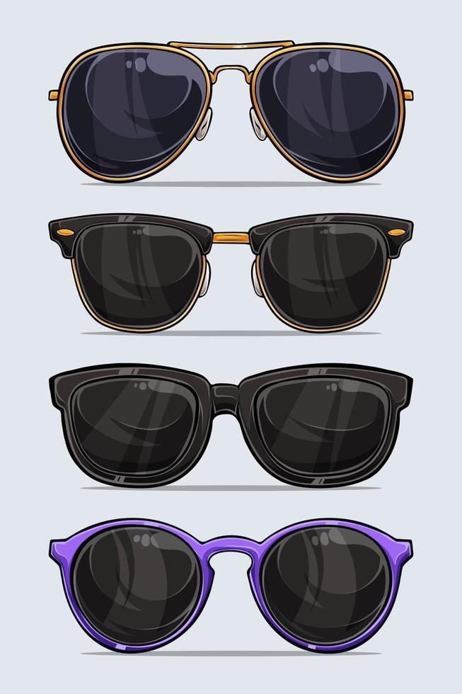 set di occhiali da sole moderni e belli disegnati a mano con ombre e luci isolate su priorità bassa bianca vettore