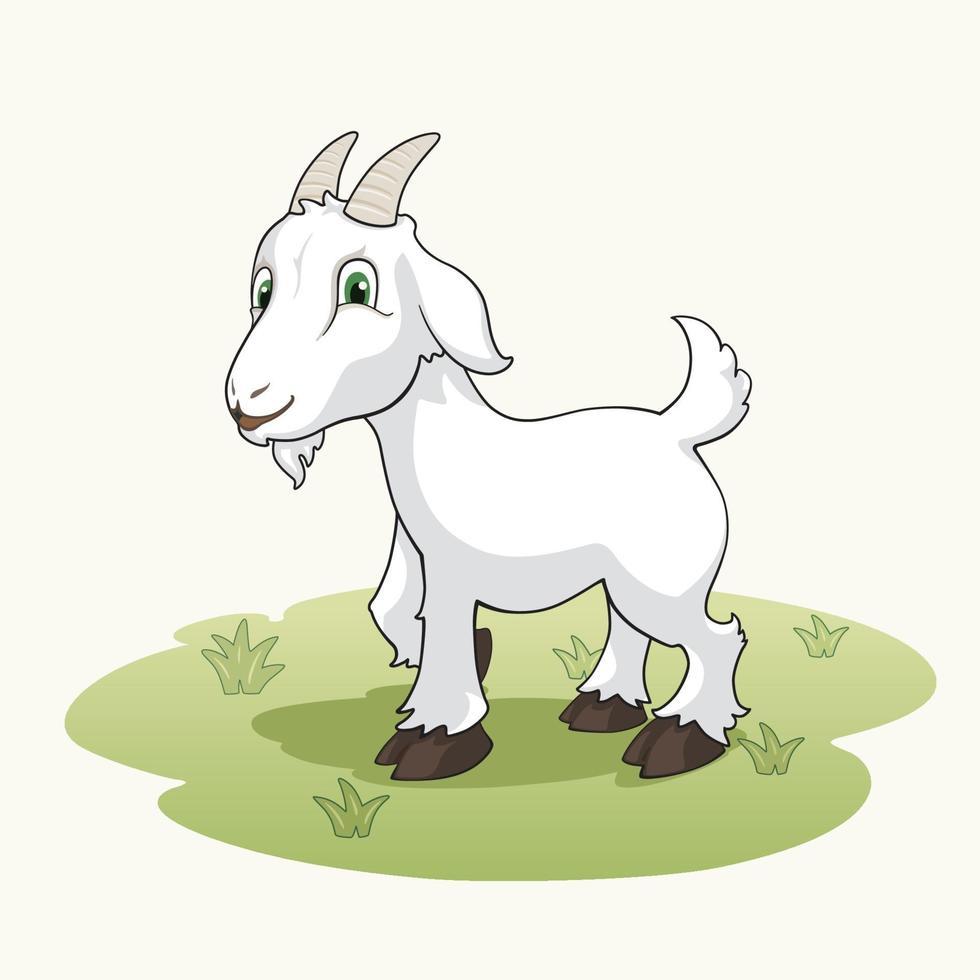 capra simpatico cartone animato sull'erba vettore