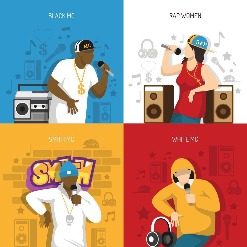 illustrazione di vettore di disegno di concetto di artisti di musica rap