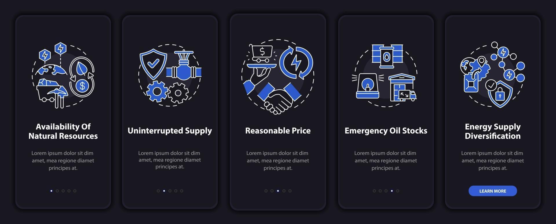 unità di sicurezza energetica onboarding schermata della pagina dell'app mobile con concetti vettore