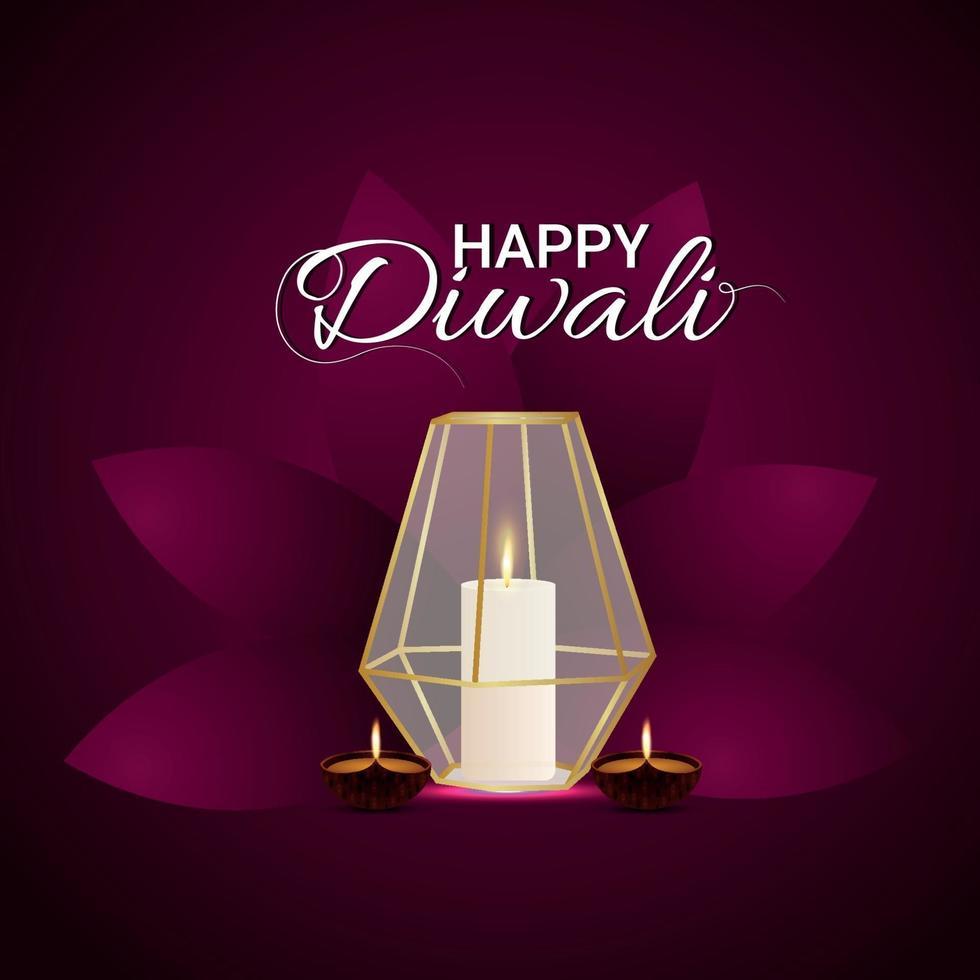 festival indiano felice diwali il festival della luce con candela creativa su sfondo viola vettore