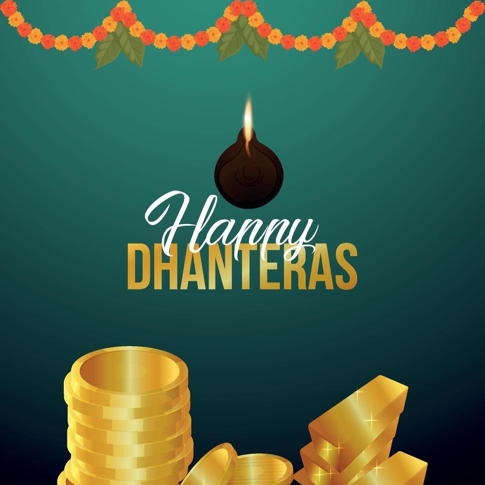 biglietto di auguri celebrazione felice dhanteras festival indiano con moneta d'oro vettore