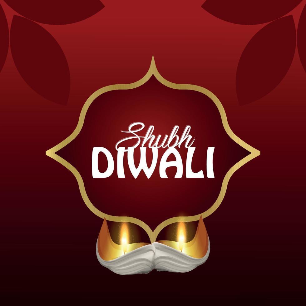 shubh diwali biglietto di auguri di celebrazione del festival indiano con illustrazione vettoriale diwali diya