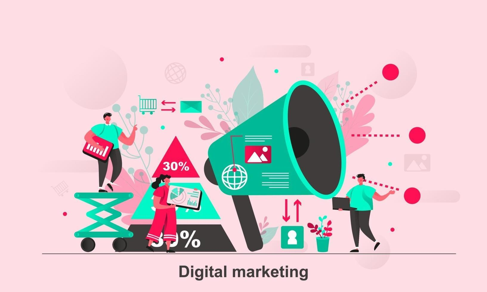 marketing digitale web concept design in illustrazione vettoriale stile piatto