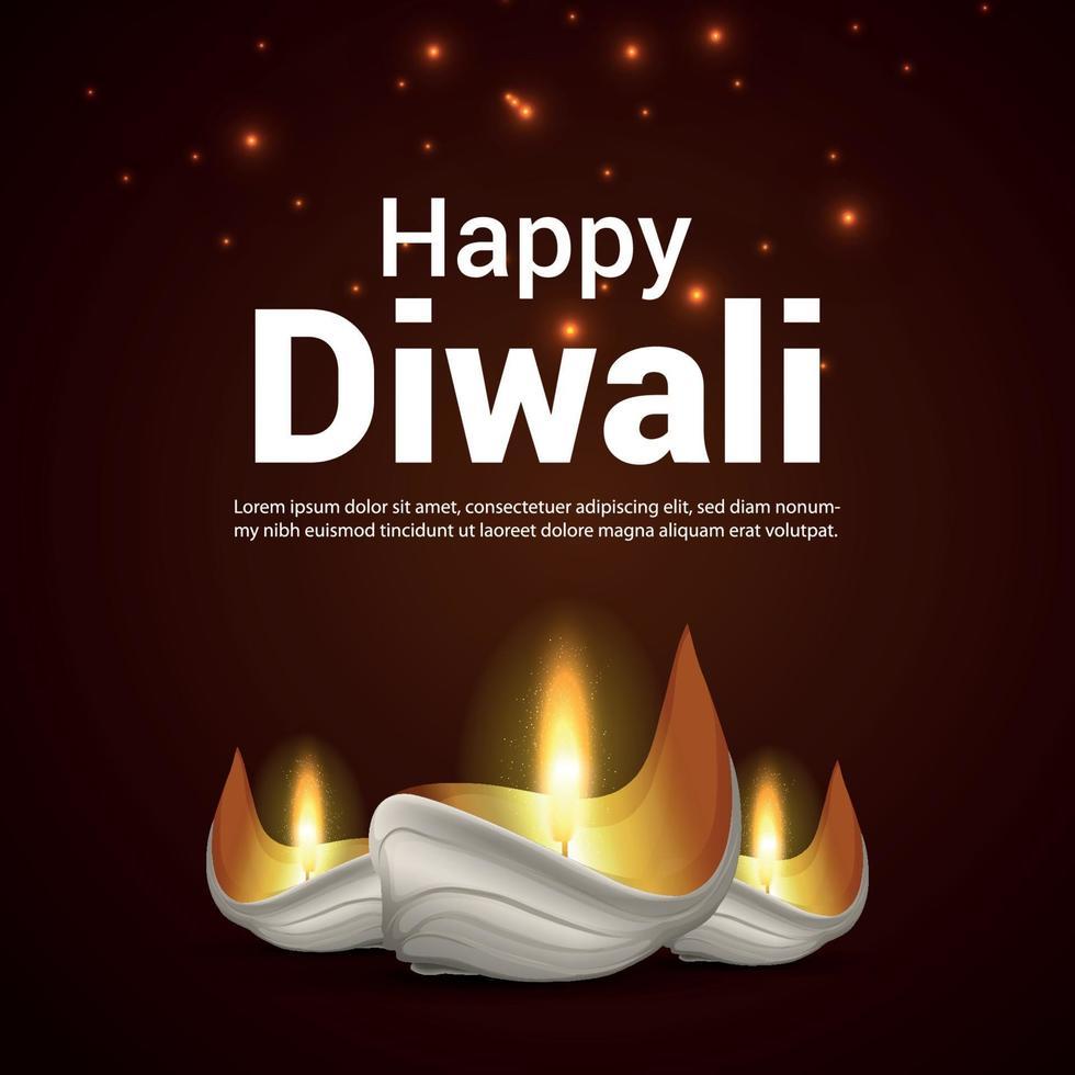 illustrazione vettoriale di felice diwali celebrazione biglietto di auguri con diwali diya