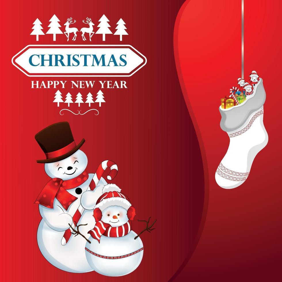 biglietto di auguri di celebrazione di Natale con palle di neve creative su sfondo rosso vettore