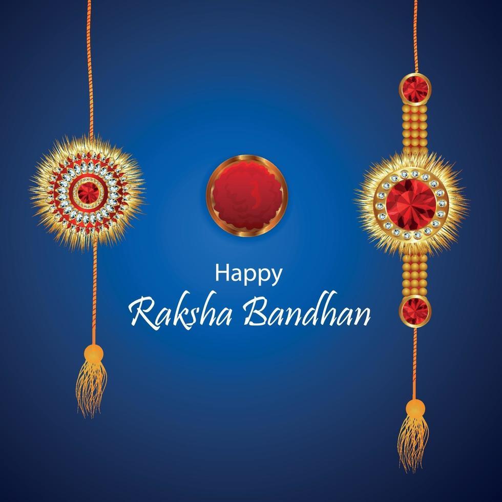 felice raksha bandhan festival indiano biglietto di auguri fratello e sorella con rakhi di cristallo vettore
