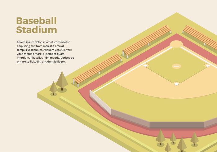 Interfaccia isometrica dello stadio di baseball vettore