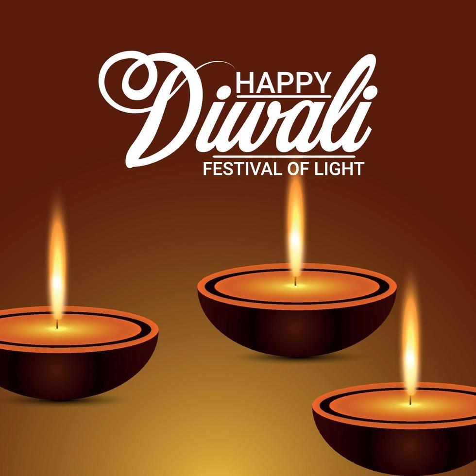 felice diwali celebrazione biglietto di auguri con illustrazione vettoriale di diwali diya