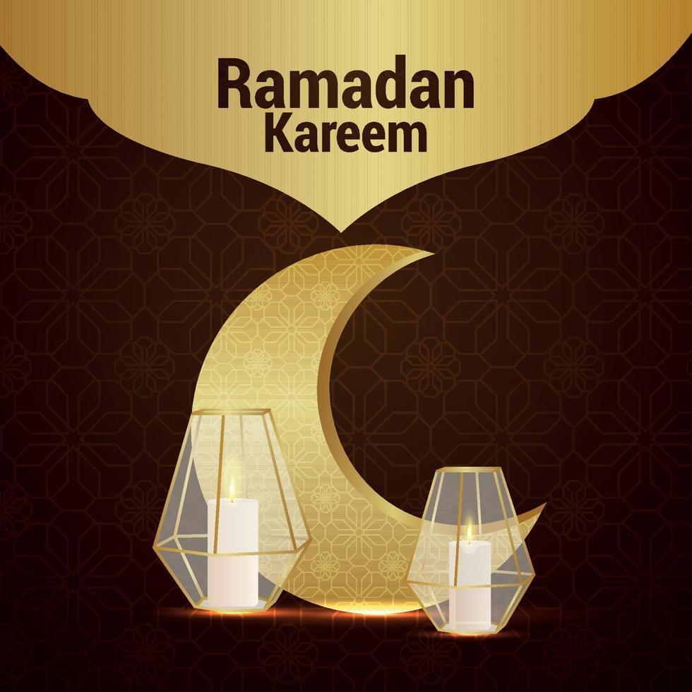 luna modello dorato con lanterna di cristallo per carta di invito ramadan kareem vettore