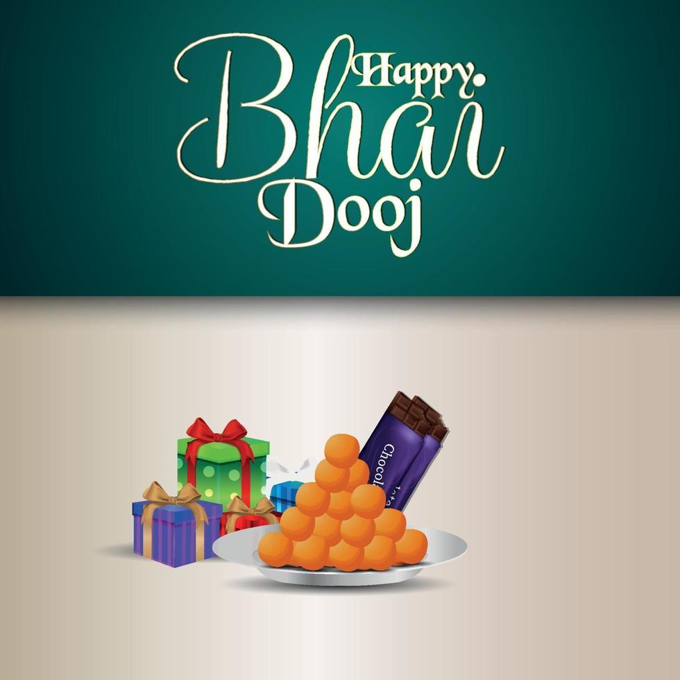 felice bhai dooj invito celebrazione biglietto di auguri con pooja thali e regali vettore