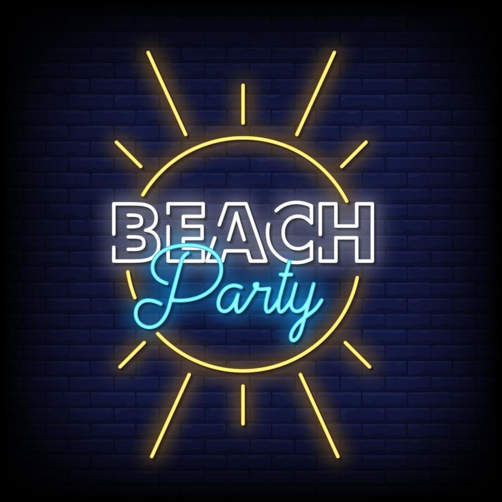 vettore del testo di stile delle insegne al neon della festa in spiaggia