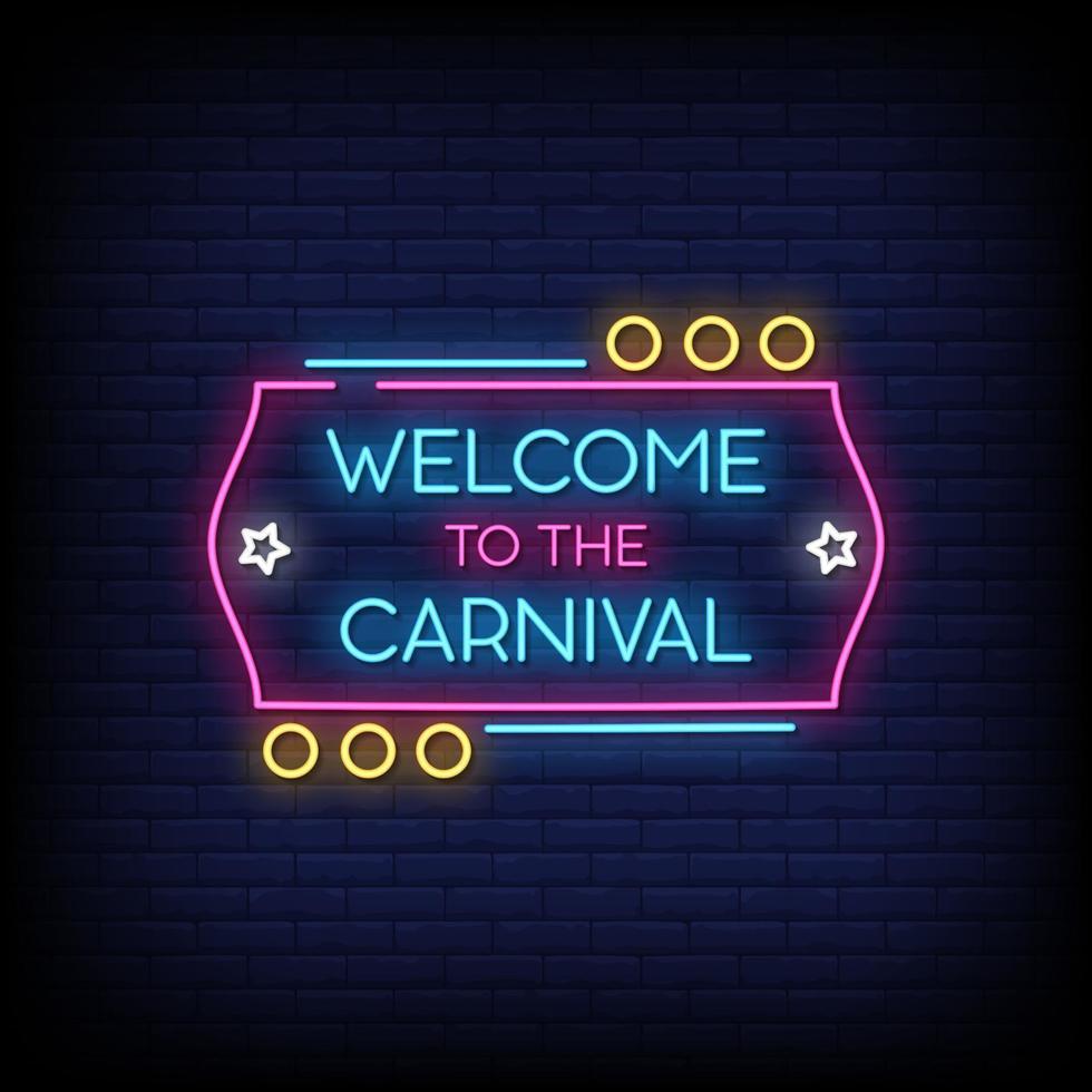 benvenuto al vettore del testo di stile delle insegne al neon di carnevale