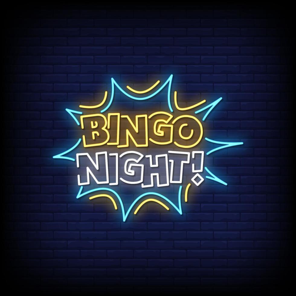 vettore del testo di stile delle insegne al neon di notte di bingo