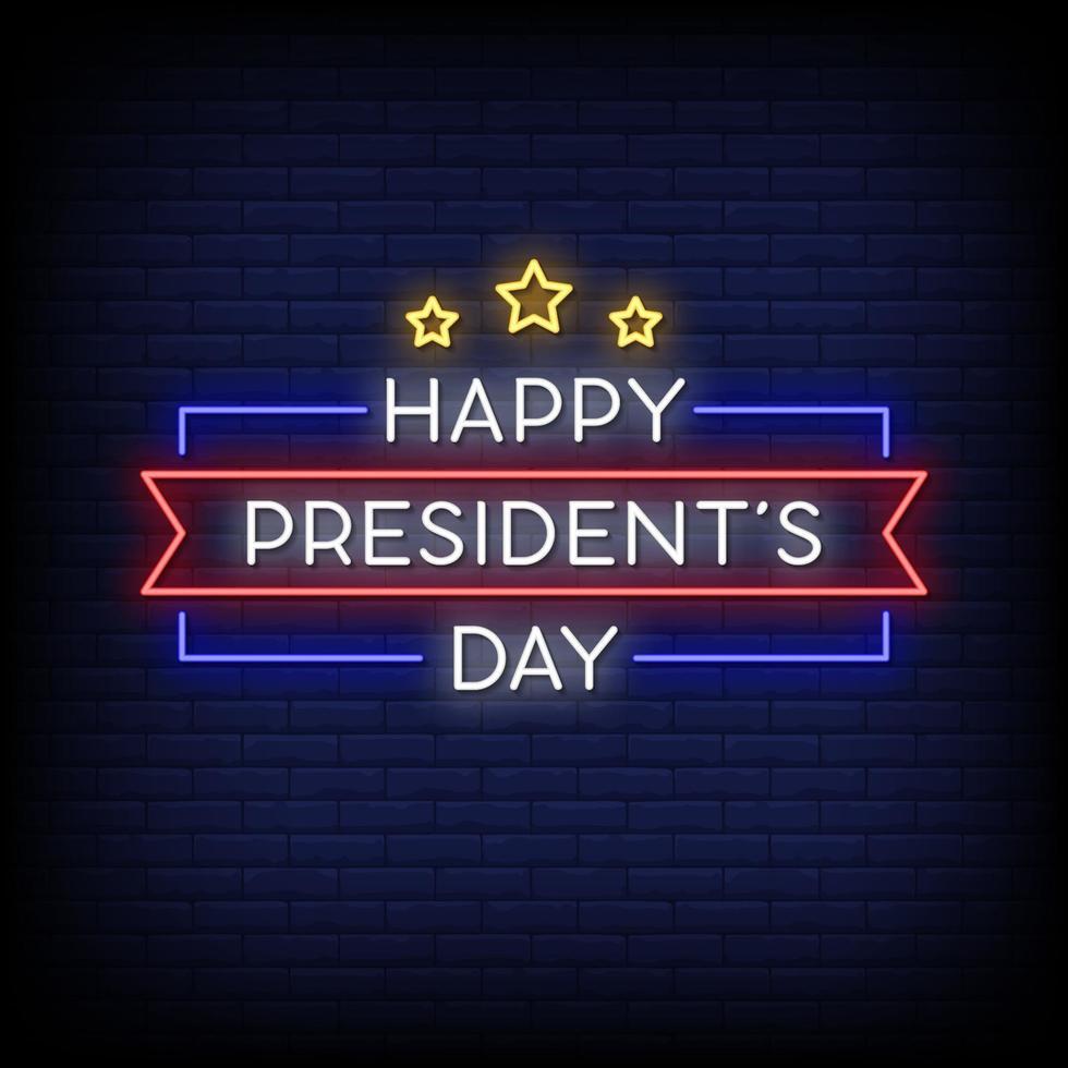 felice giorno del presidente insegne al neon stile testo vettoriale