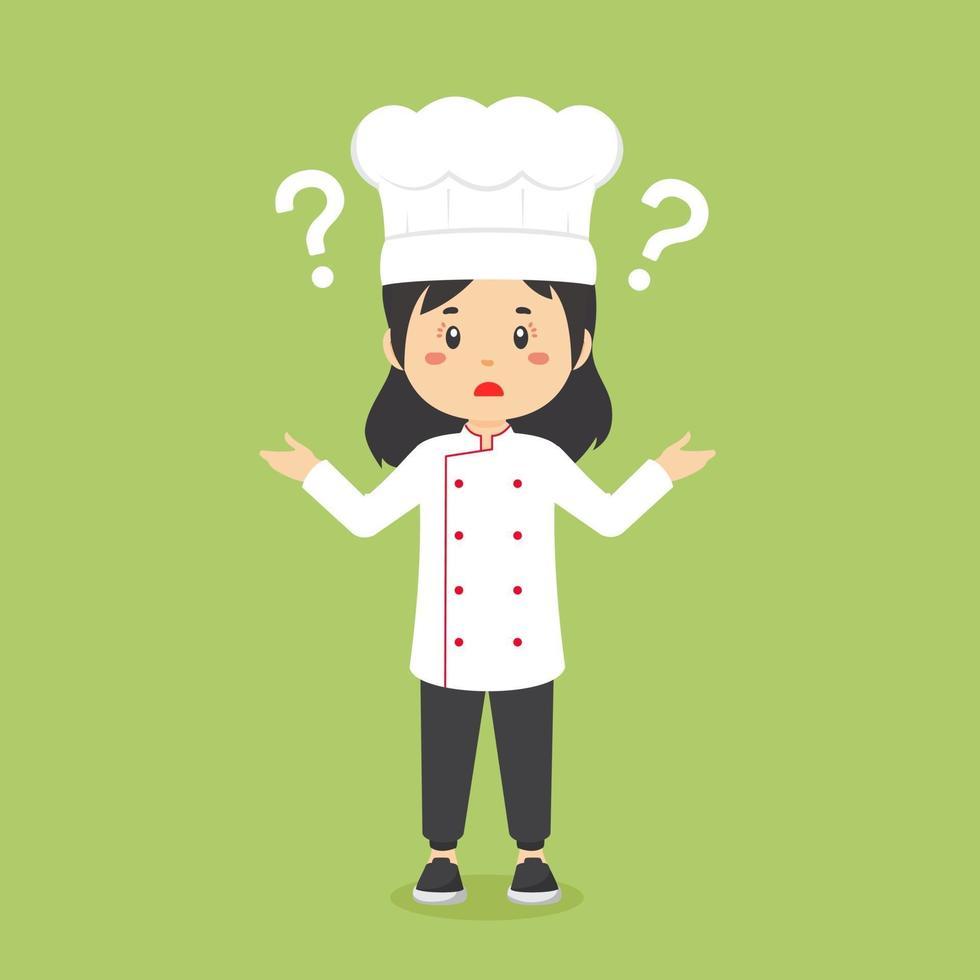chef confuso con punto interrogativo vettore