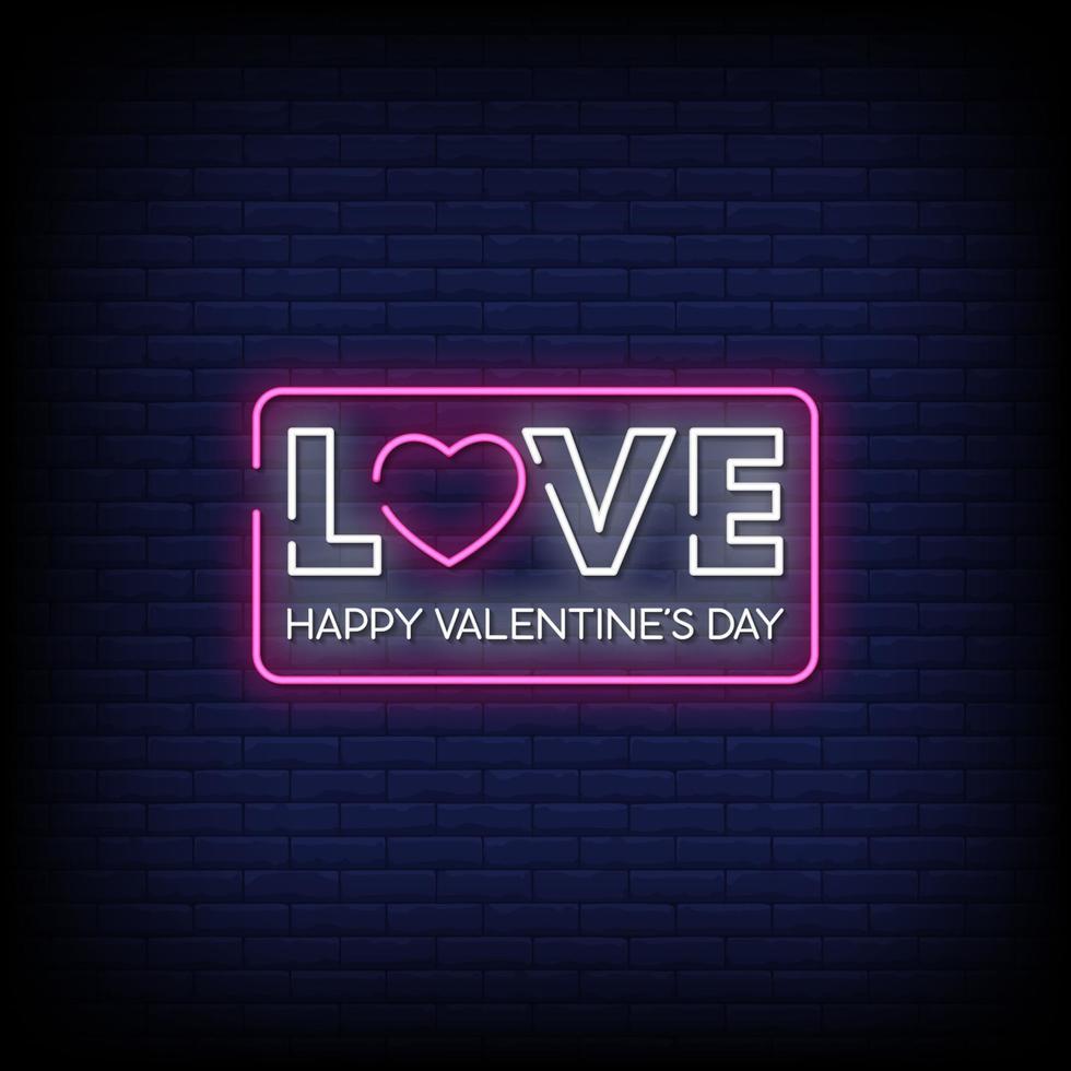 felice giorno di San Valentino insegne al neon stile testo vettoriale