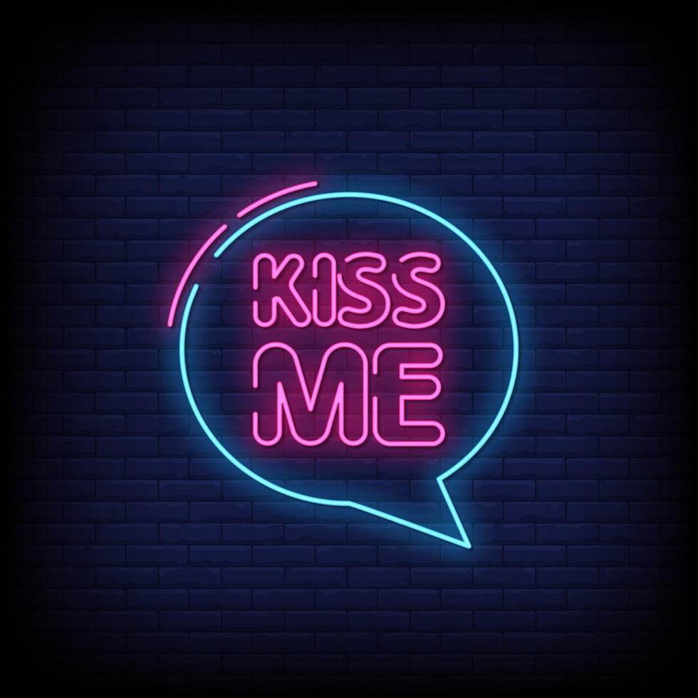 baciami vettore di testo stile insegne al neon
