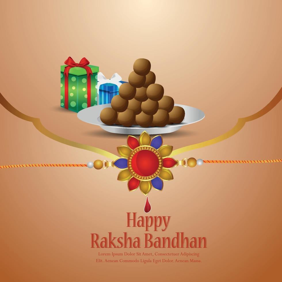 illustrazione vettoriale di felice festa indiana raksha bandhan celebrazione con rakhi di cristallo e regali