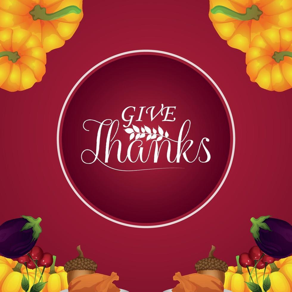sfondo creativo con illustrazione vettoriale di felice cartolina d'auguri di celebrazione del ringraziamento