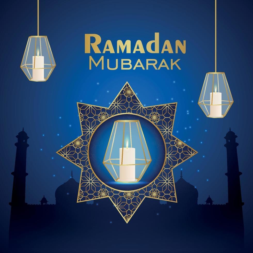 biglietto di auguri celebrazione festival islamico di ramadan kareem con lanterna di cristallo vettore