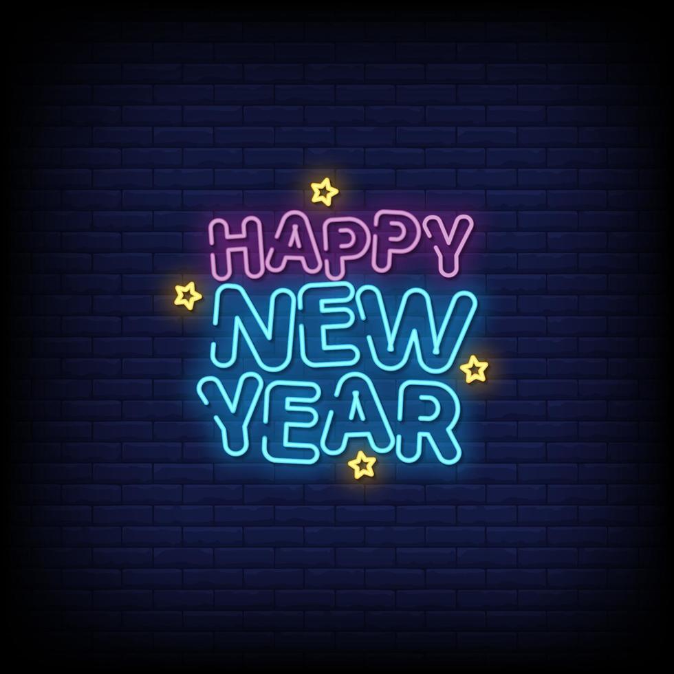 felice anno nuovo insegne al neon stile testo vettoriale