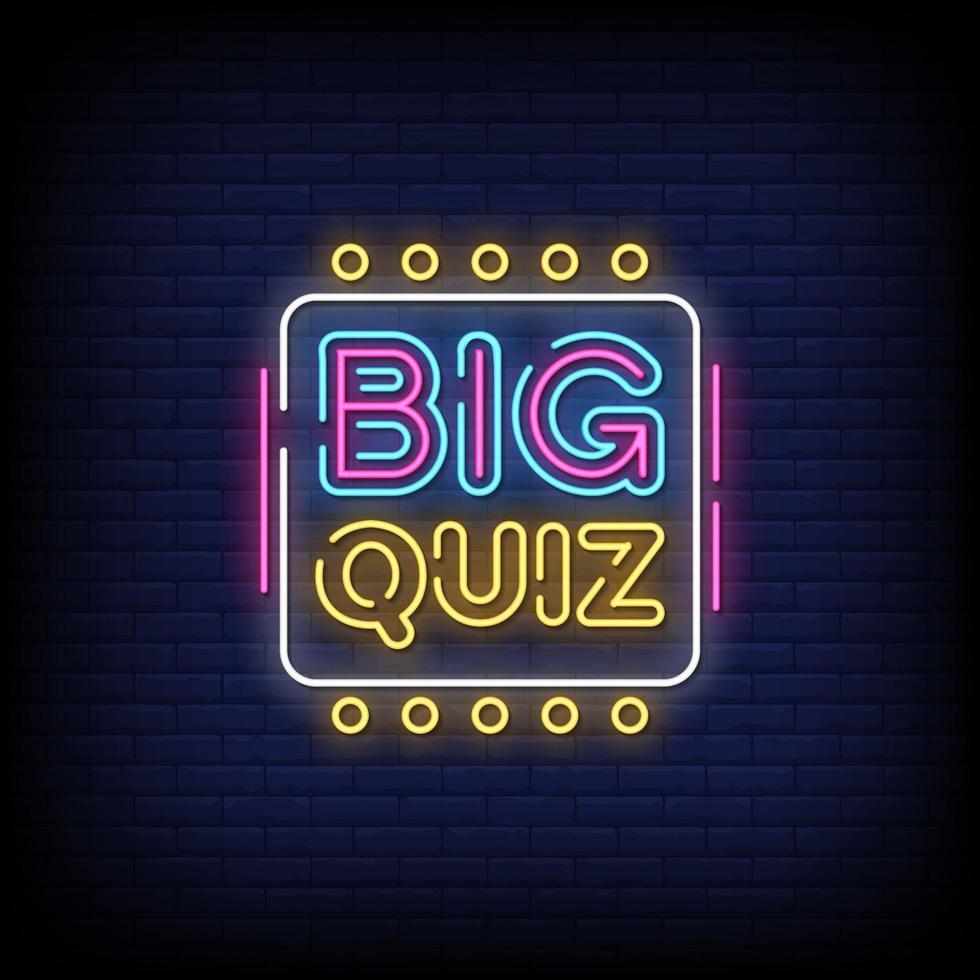 grande quiz insegne al neon stile testo vettoriale