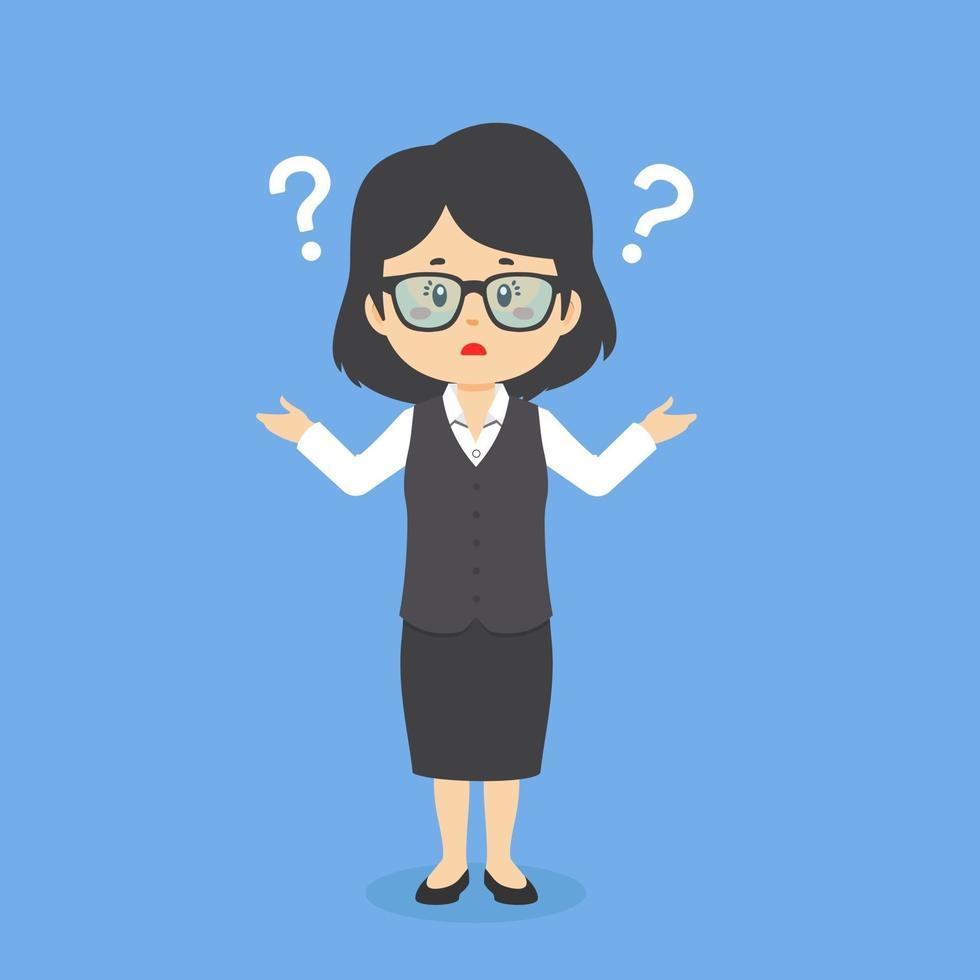 imprenditrice confusa con punto interrogativo vettore