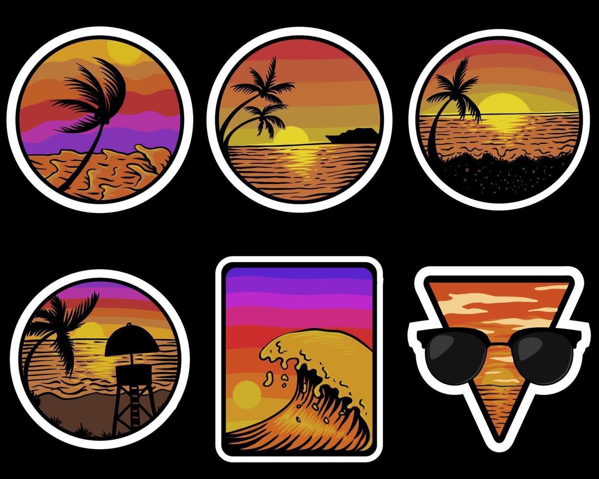 spiaggia tramonto retrò adesivi illustrazione vettoriale
