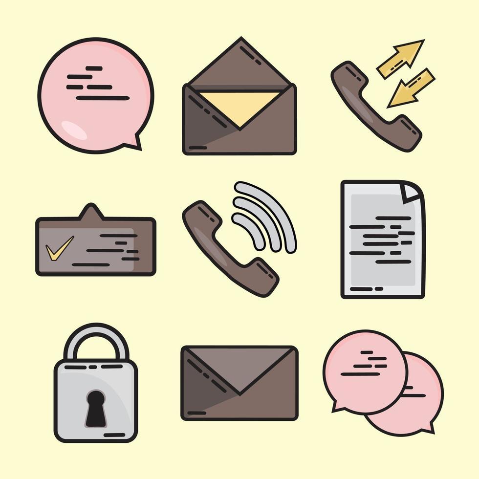 messaggio di chiamata e-mail e pacchetto di illustrazione vettoriale di chat