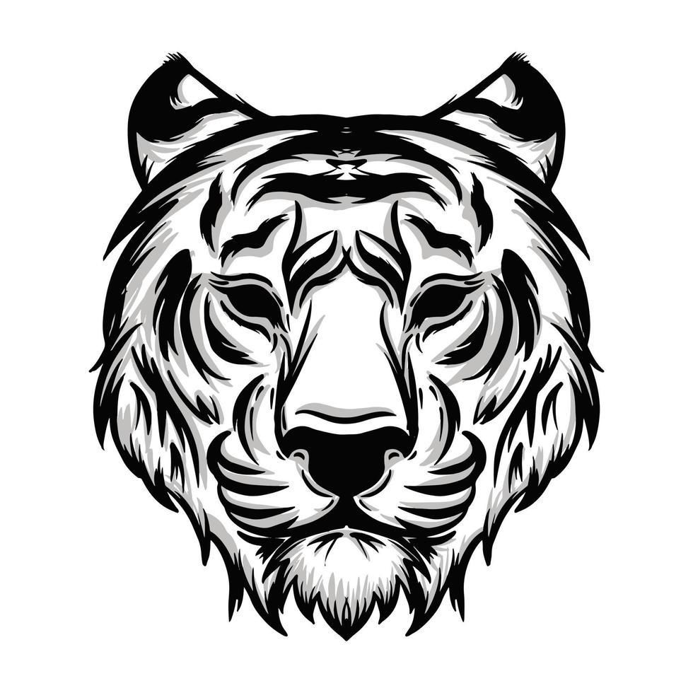 illustrazione della testa della tigre in bianco e nero vettore