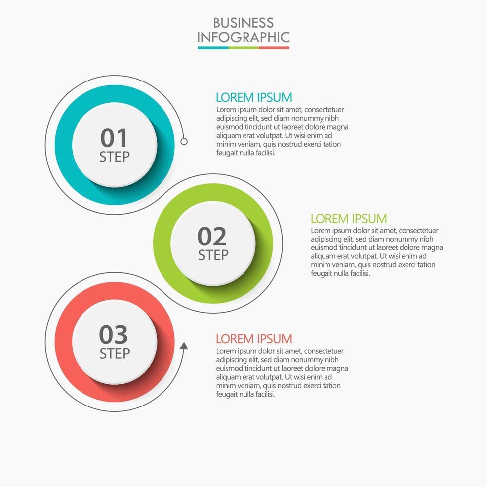 modello di progettazione linea sottile infografica con 3 opzioni vettore