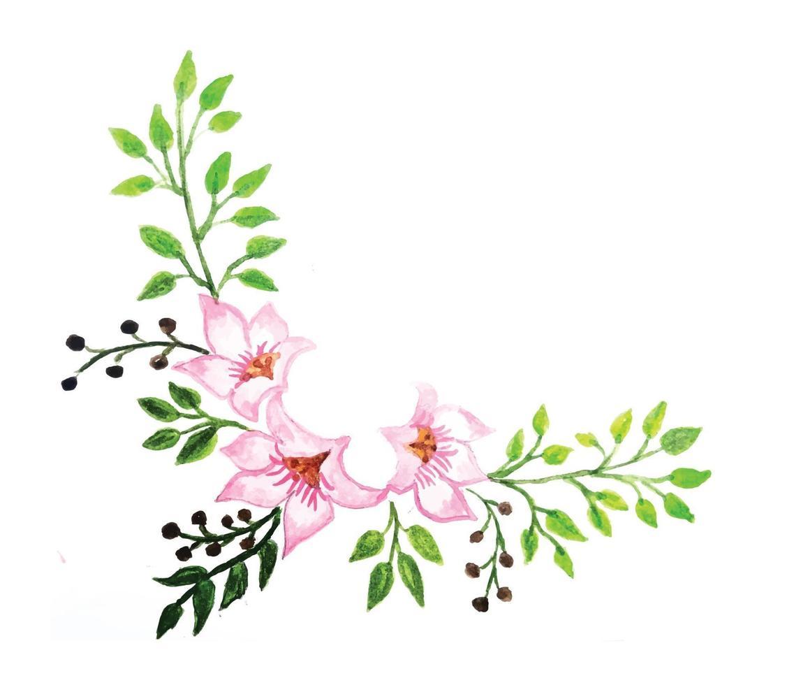 cornice floreale in stile acquerello isolato su priorità bassa bianca vettore