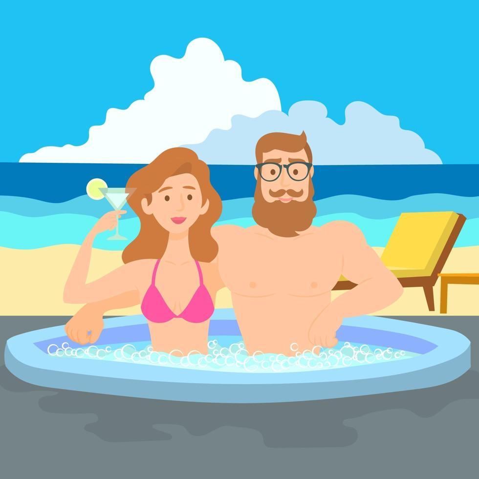 coppia godendo jacuzzi in spiaggia vettore