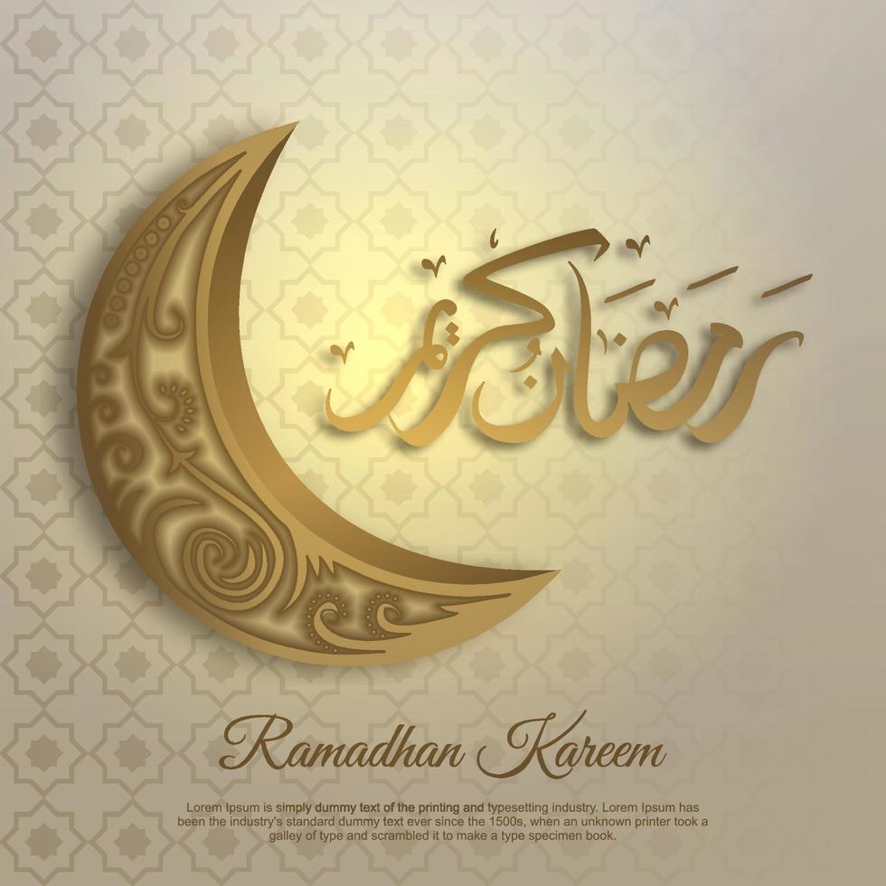 biglietto di auguri di ramadan kareem con mezzaluna dorata vettore