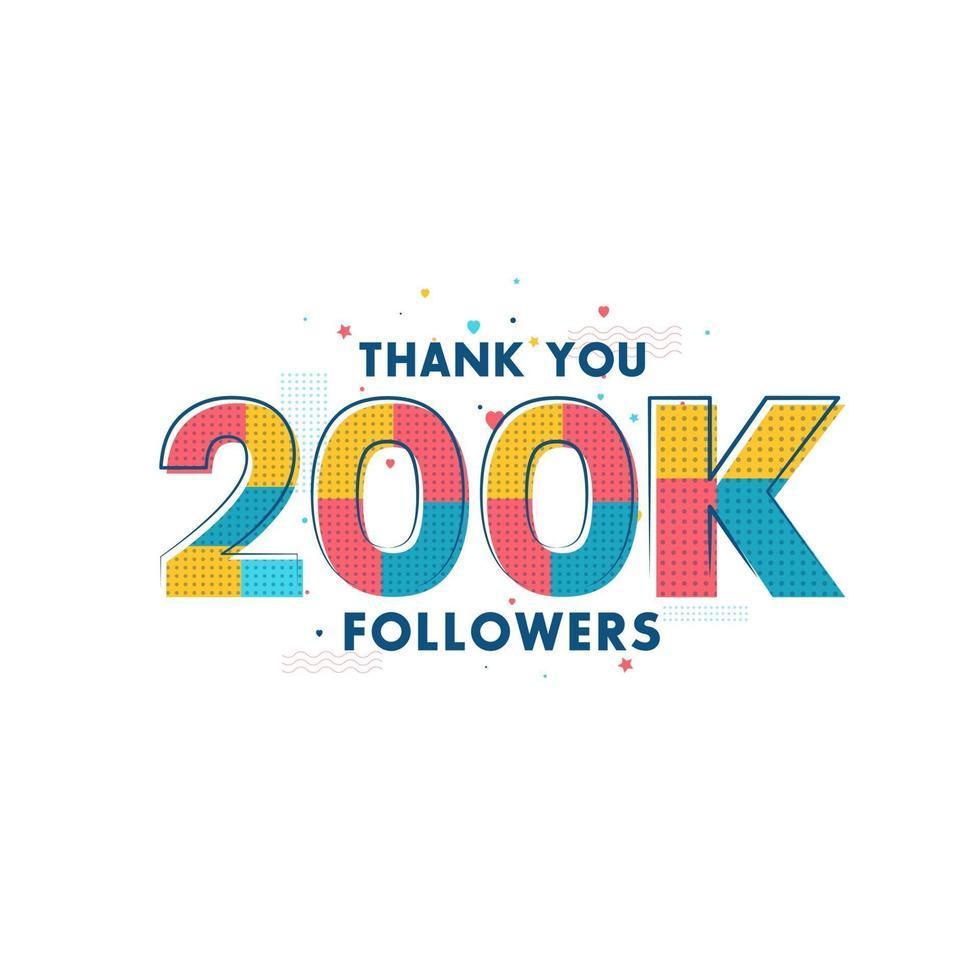grazie 200k follower celebrazione biglietto di auguri per 200000 follower sociali vettore