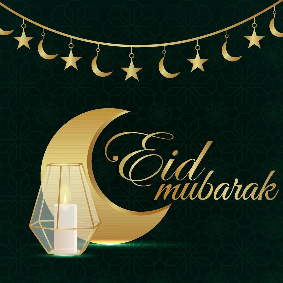 celebrazione di eid mubarak con luna e lanterna dorate vettore